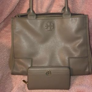 Tory Burch Ella Canvas Leather Tote & Wallet
